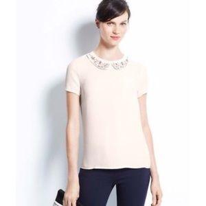 Ann Taylor Jeweled Collar Chiffon Top